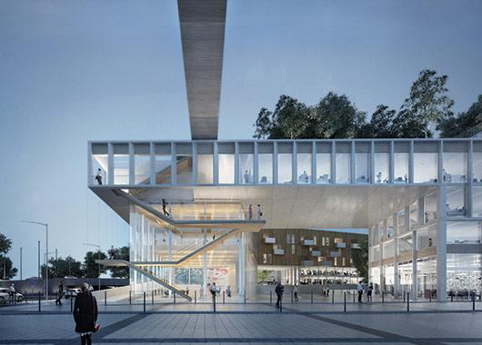La halle Campus Tech et l'escalier promenade des Horizons Libres