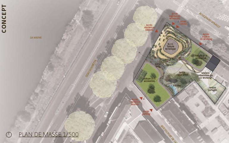 Plan masse du projet Arborescence.